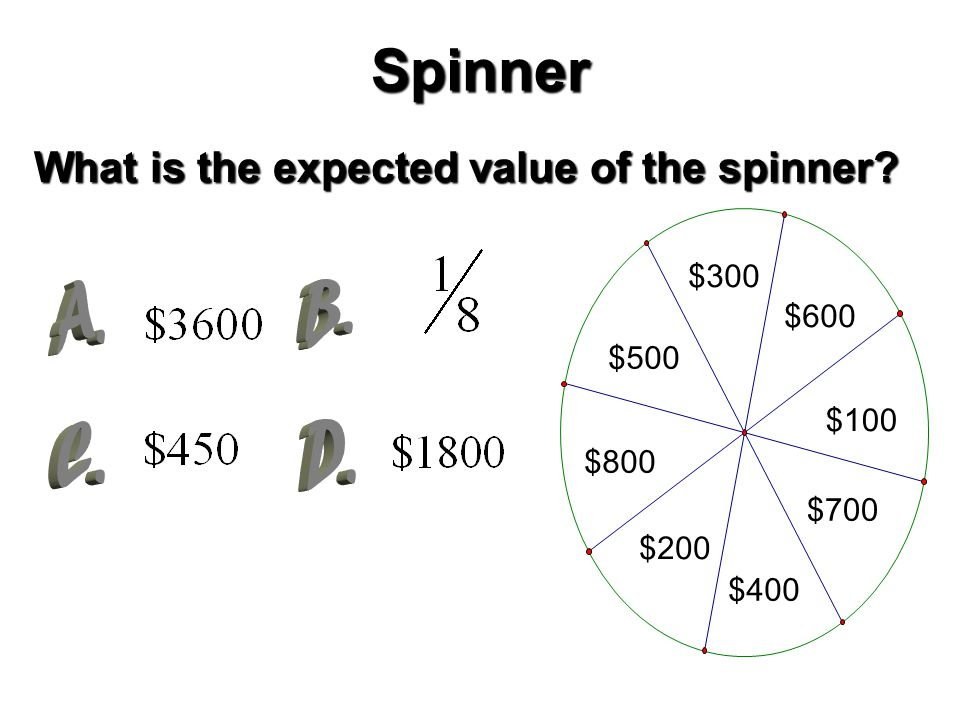 Spinner What is the expected value of the spinner $800 $200 $500 $400 $700 $100 $300 $600