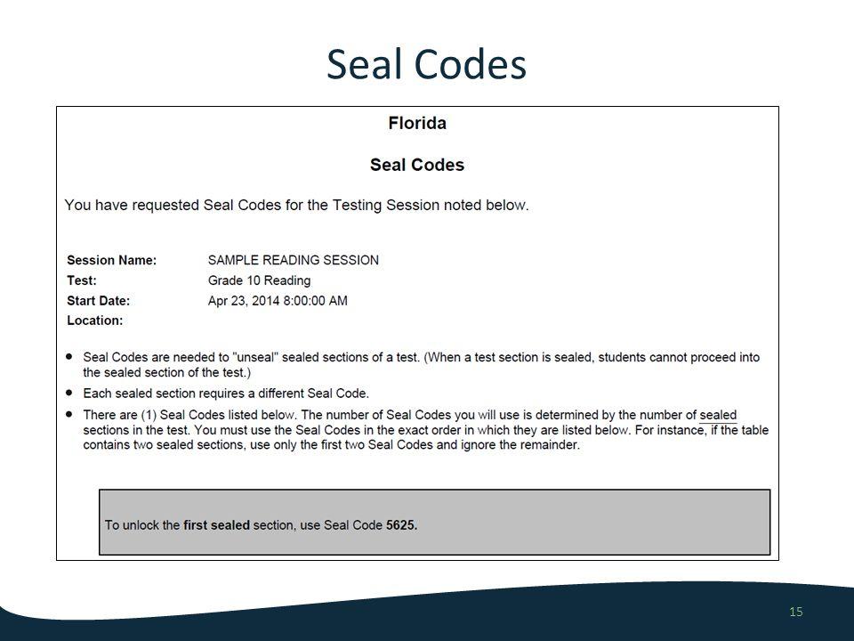Seal Codes 15