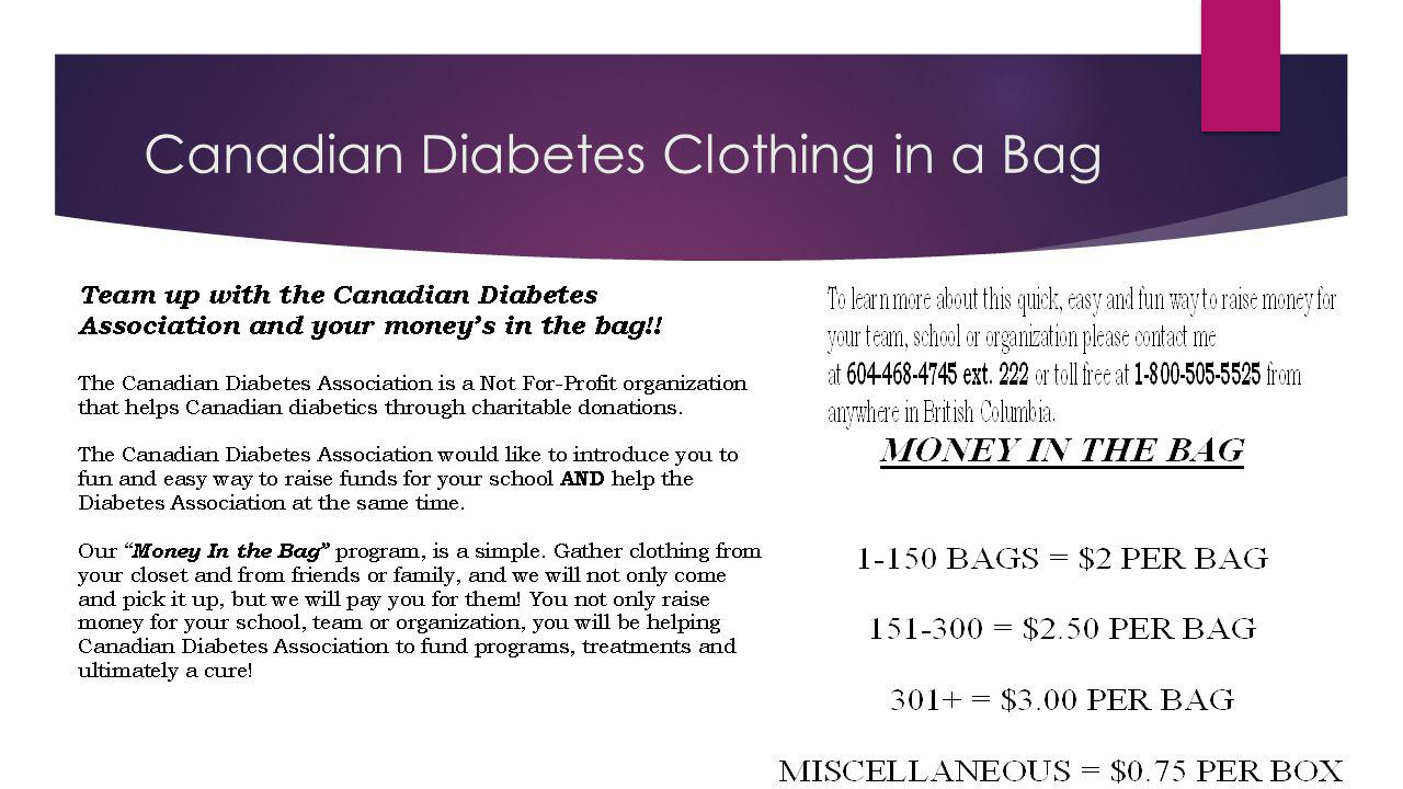 Canadian Diabetes Clothing in a Bag