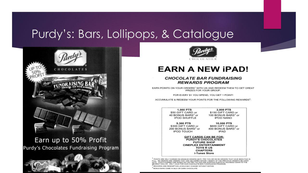 Purdys: Bars, Lollipops, & Catalogue