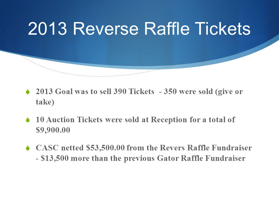 2013 Reverse Raffle Tickets 2013 Goal was to sell 390 Tickets - 350 were sold (give or take) 10 Auction Tickets were sold at Reception for a total of $9,900.00 CASC netted $53,500.00 from the Revers Raffle Fundraiser - $13,500 more than the previous Gator Raffle Fundraiser