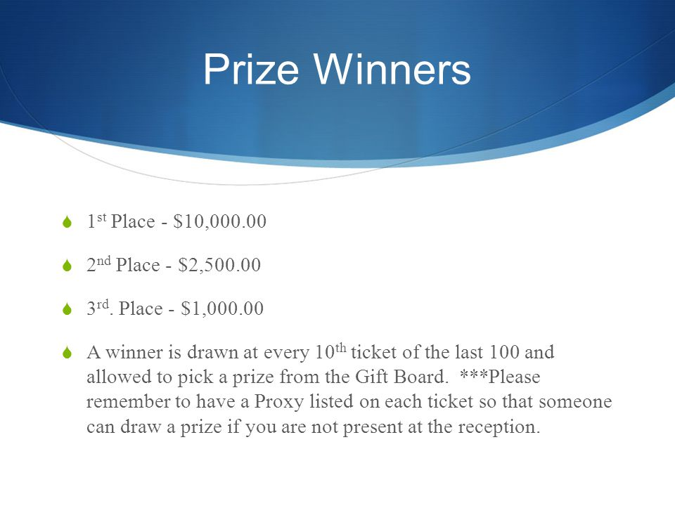 Prize Winners 1 st Place - $10,000.00 2 nd Place - $2,500.00 3 rd.