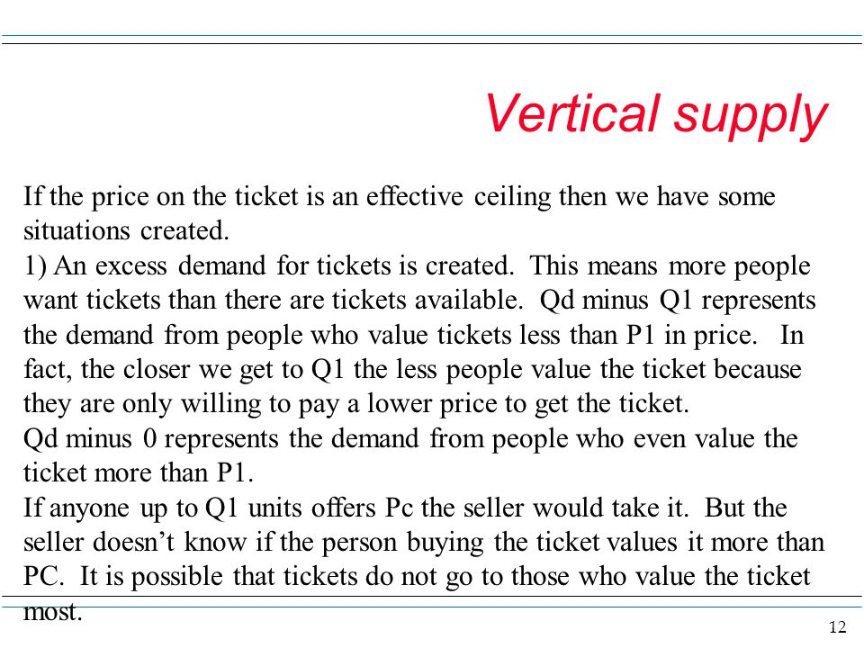 12 Vertical supply If the price on the ticket is an effective ceiling then we have some situations created. 1) An excess demand for tickets is created