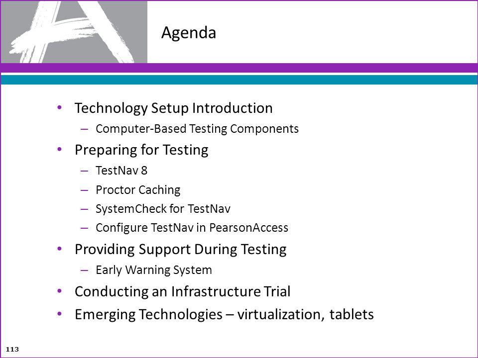 Technology Setup Introduction – Computer-Based Testing Components Preparing for Testing – TestNav 8 – Proctor Caching – SystemCheck for TestNav – Conf