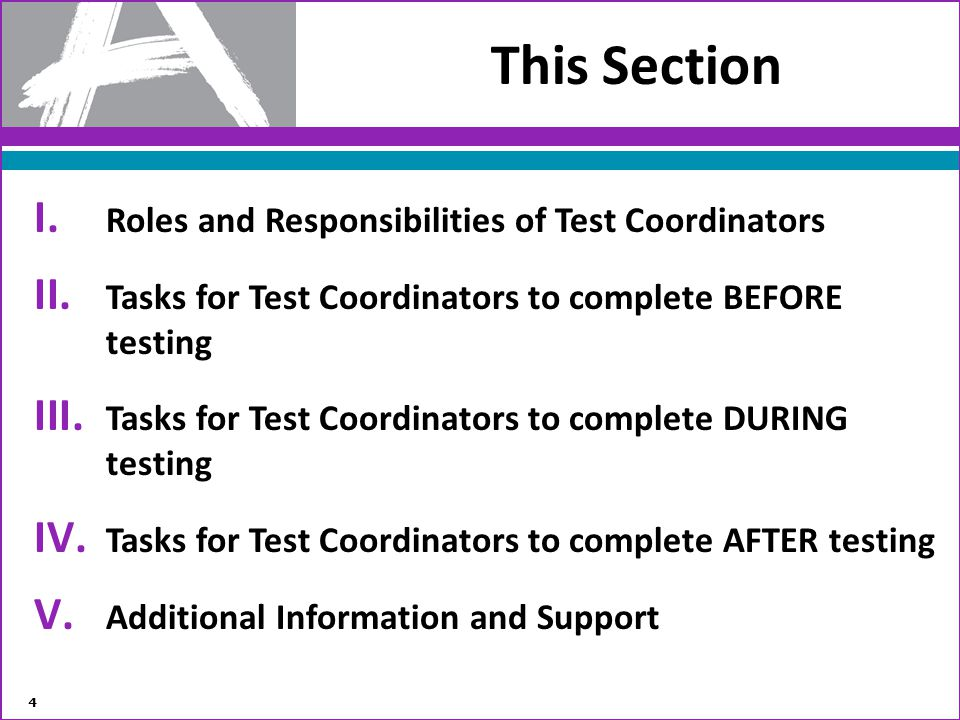 This Section I. Roles and Responsibilities of Test Coordinators II. Tasks for Test Coordinators to complete BEFORE testing III. Tasks for Test Coordin