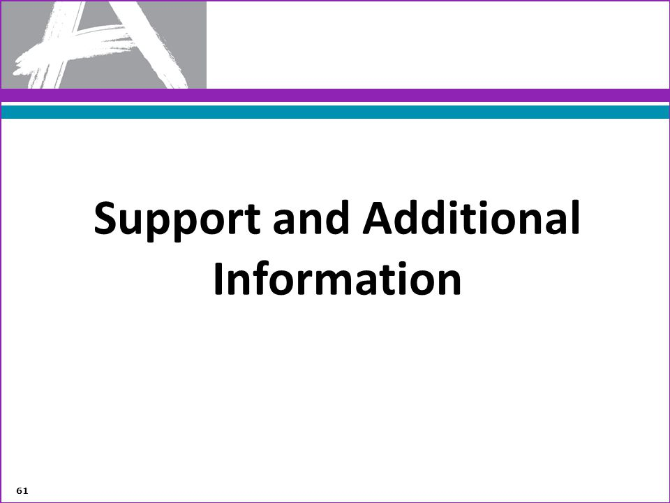 Support and Additional Information 61