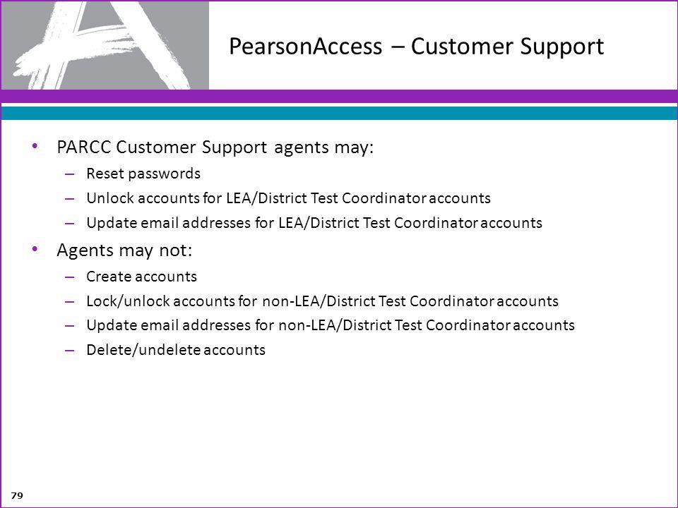 PearsonAccess – Customer Support PARCC Customer Support agents may: – Reset passwords – Unlock accounts for LEA/District Test Coordinator accounts – U
