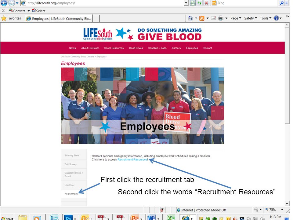First click the recruitment tab Second click the words Recruitment Resources