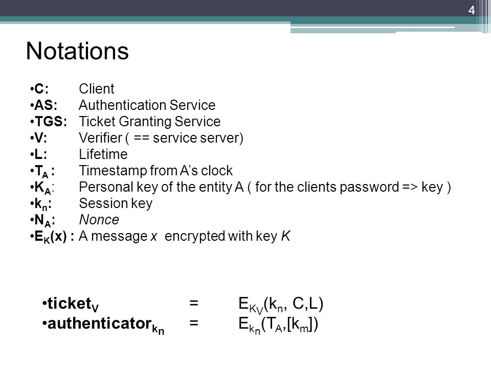Notations C:Client AS:Authentication Service TGS:Ticket Granting Service V:Verifier ( == service server) L: Lifetime T A : Timestamp from As clock K A :Personal key of the entity A ( for the clients password => key ) k n : Session key N A : Nonce E K (x) :A message x encrypted with key K 4 ticket V =E K V (k n, C,L) authenticator k n =E k n (T A,[k m ])