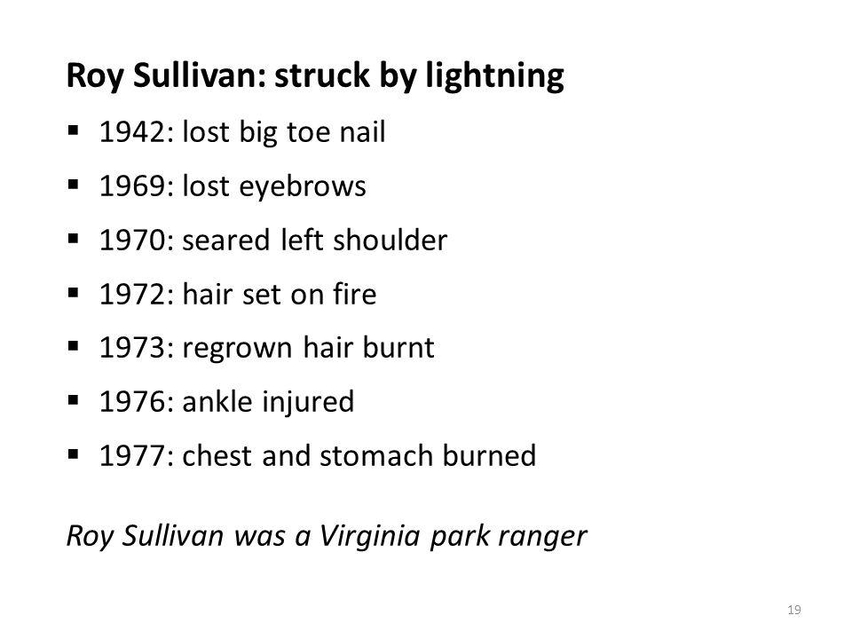 Roy Sullivan: struck by lightning 1942: lost big toe nail 1969: lost eyebrows 1970: seared left shoulder 1972: hair set on fire 1973: regrown hair bur