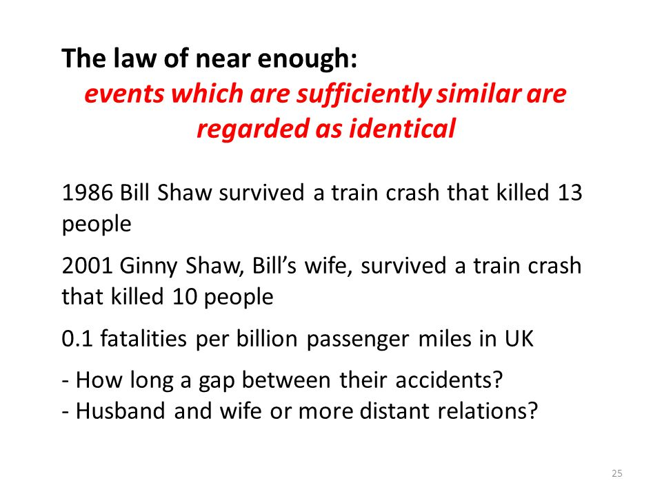 25 The law of near enough: events which are sufficiently similar are regarded as identical 1986 Bill Shaw survived a train crash that killed 13 people