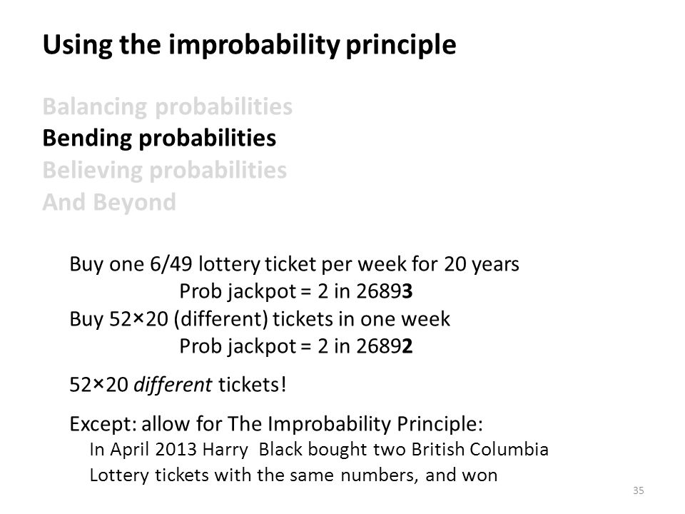 35 Using the improbability principle Balancing probabilities Bending probabilities Believing probabilities And Beyond Buy one 6/49 lottery ticket per