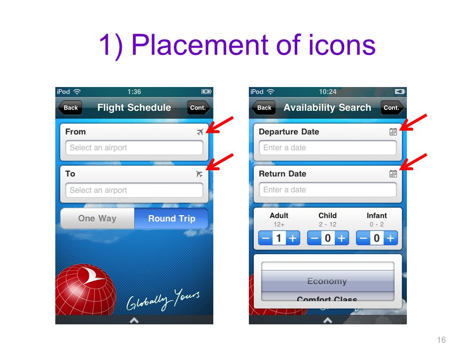 1) Placement of icons 16