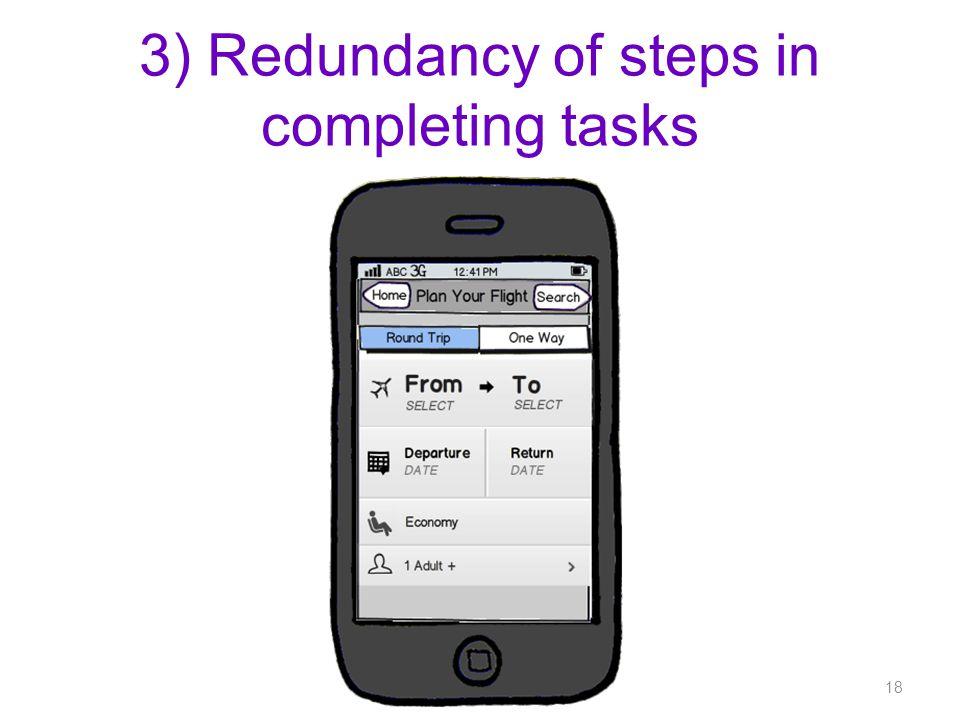 3) Redundancy of steps in completing tasks 18