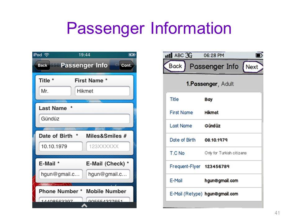 Passenger Information 41