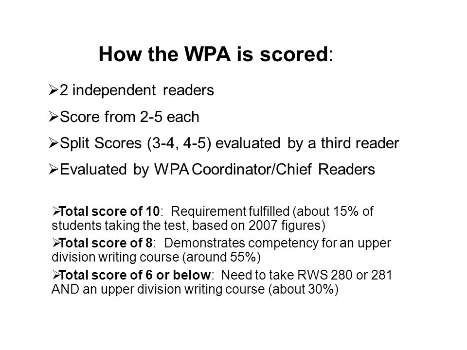 2 independent readers Score from 2-5 each Split Scores (3-4, 4-5) evaluated by a third reader Evaluated by WPA Coordinator/Chief Readers How the WPA i