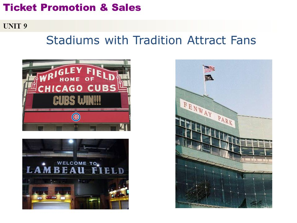Stadiums with Tradition Attract Fans UNIT 9 Ticket Promotion & Sales Copyright © 2010 by Sports Career Consulting, LLC