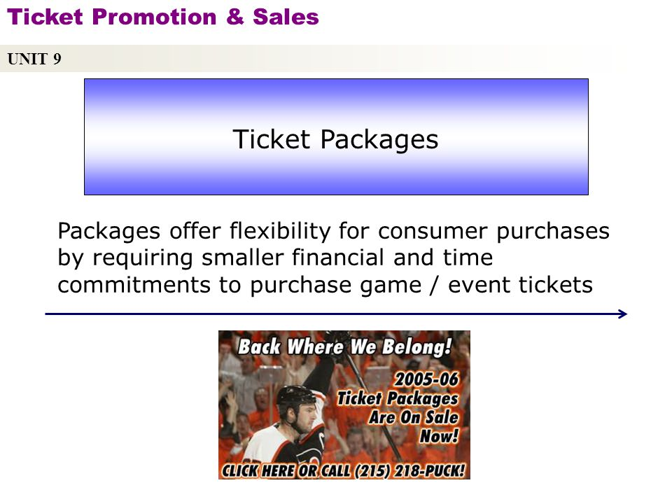 UNIT 9 Ticket Promotion & Sales Copyright © 2010 by Sports Career Consulting, LLC Ticket Packages Packages offer flexibility for consumer purchases by requiring smaller financial and time commitments to purchase game / event tickets