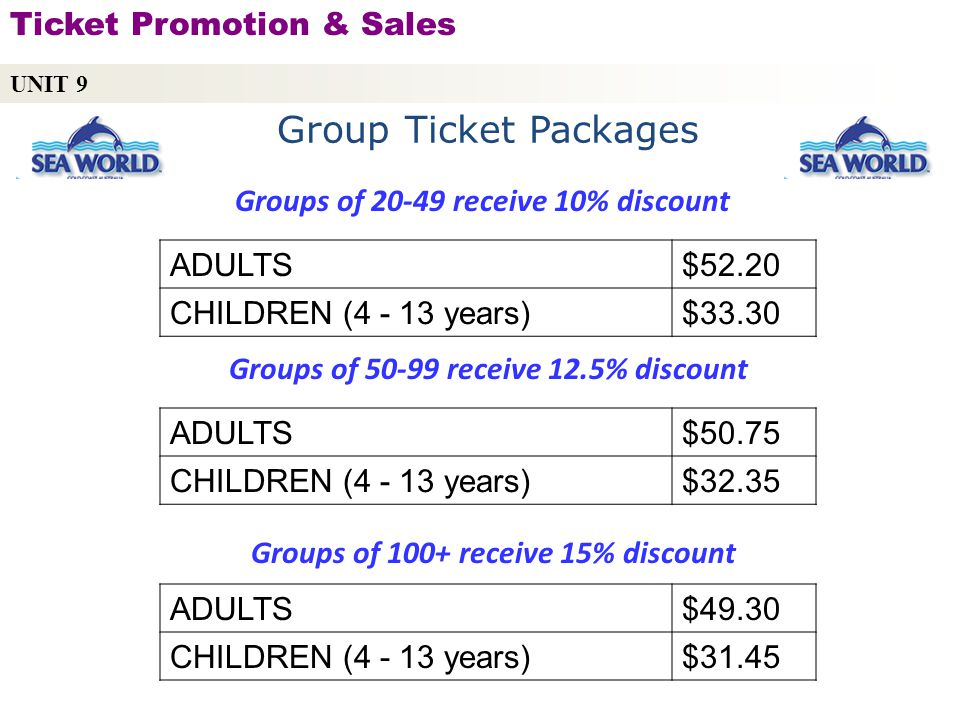 Groups of 20-49 receive 10% discount ADULTS$52.20 CHILDREN (4 - 13 years)$33.30 UNIT 9 Ticket Promotion & Sales Copyright © 2010 by Sports Career Consulting, LLC Group Ticket Packages Groups of 50-99 receive 12.5% discount ADULTS$50.75 CHILDREN (4 - 13 years)$32.35 Groups of 100+ receive 15% discount ADULTS$49.30 CHILDREN (4 - 13 years)$31.45