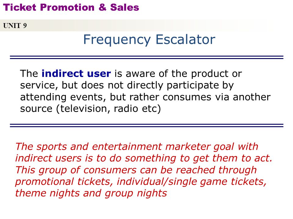 The indirect user is aware of the product or service, but does not directly participate by attending events, but rather consumes via another source (television, radio etc) Copyright © 2010 by Sports Career Consulting, LLC The sports and entertainment marketer goal with indirect users is to do something to get them to act.
