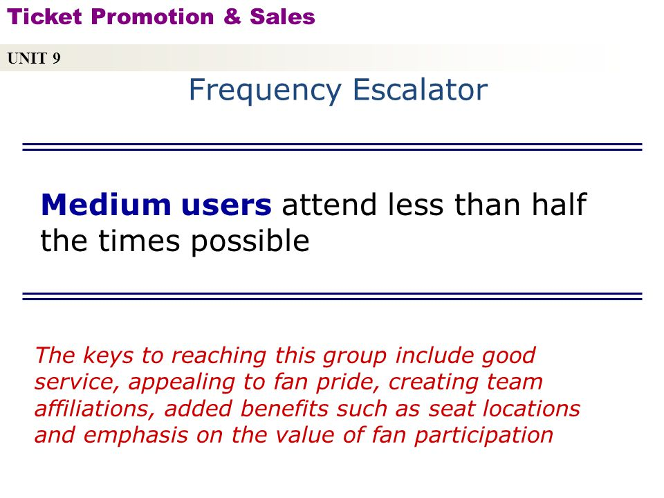 Medium users attend less than half the times possible Copyright © 2010 by Sports Career Consulting, LLC The keys to reaching this group include good service, appealing to fan pride, creating team affiliations, added benefits such as seat locations and emphasis on the value of fan participation UNIT 9 Ticket Promotion & Sales Frequency Escalator