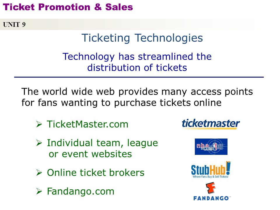 Ticketing Technologies UNIT 9 Ticket Promotion & Sales Copyright © 2010 by Sports Career Consulting, LLC The world wide web provides many access points for fans wanting to purchase tickets online TicketMaster.com Individual team, league or event websites Online ticket brokers Fandango.com Technology has streamlined the distribution of tickets