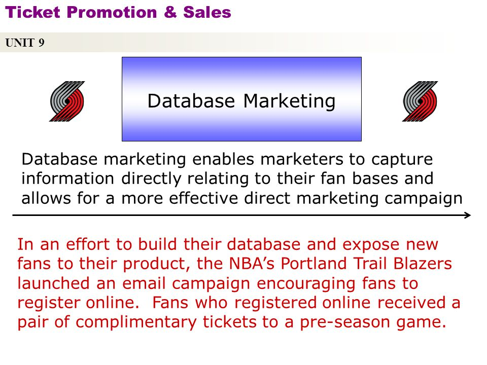 UNIT 9 Ticket Promotion & Sales Copyright © 2010 by Sports Career Consulting, LLC Database Marketing Database marketing enables marketers to capture information directly relating to their fan bases and allows for a more effective direct marketing campaign In an effort to build their database and expose new fans to their product, the NBAs Portland Trail Blazers launched an email campaign encouraging fans to register online.