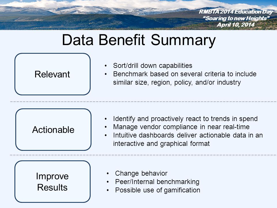 Data Benefit Summary Improve Results Actionable Relevant Sort/drill down capabilities Benchmark based on several criteria to include similar size, reg