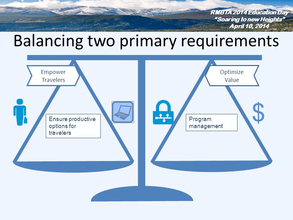 Balancing two primary requirements Empower Travelers Program management $ Ensure productive options for travelers Optimize Value RMBTA 2014 Education