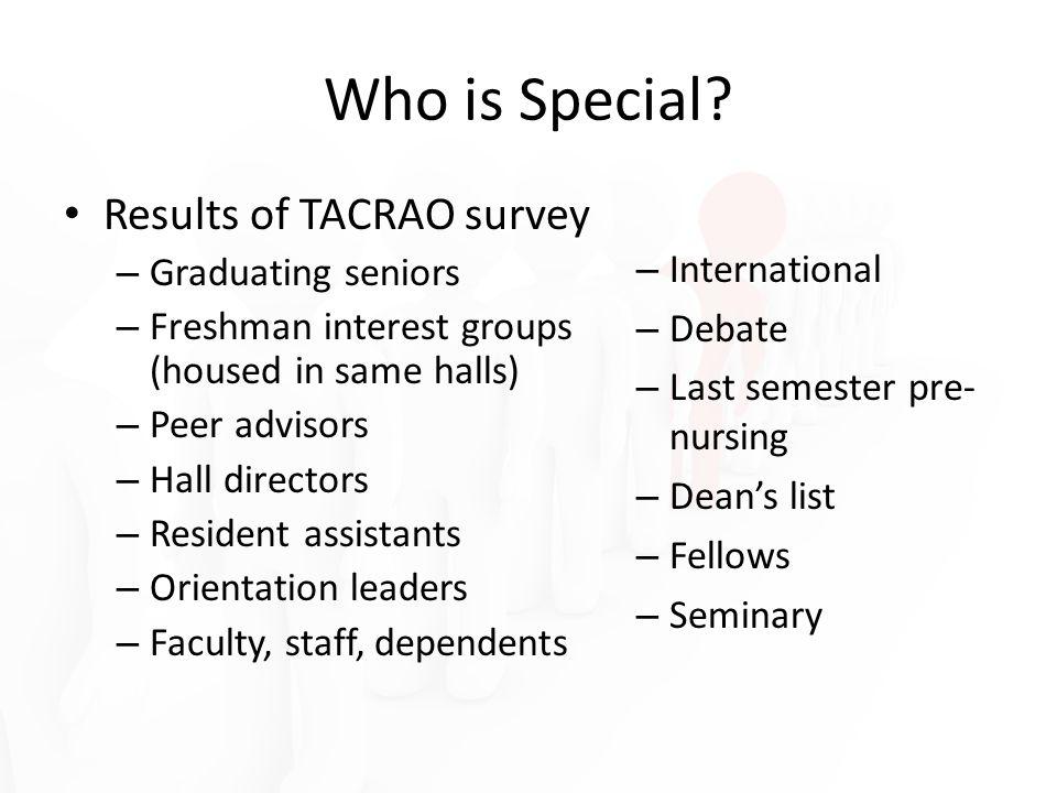 Results of TACRAO survey – Graduating seniors – Freshman interest groups (housed in same halls) – Peer advisors – Hall directors – Resident assistants