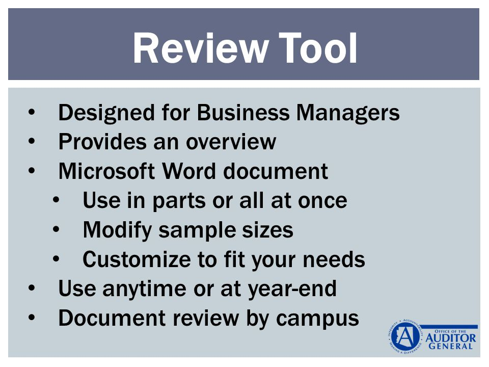 Review Tool Designed for Business Managers Provides an overview Microsoft Word document Use in parts or all at once Modify sample sizes Customize to fit your needs Use anytime or at year-end Document review by campus