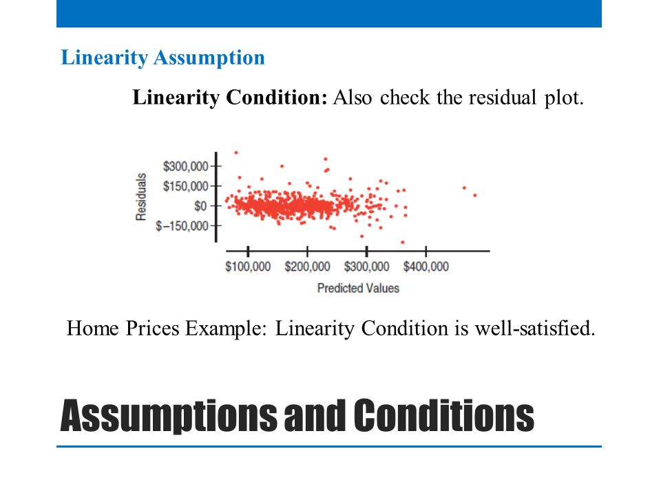 Linearity Assumption Linearity Condition: Also check the residual plot.