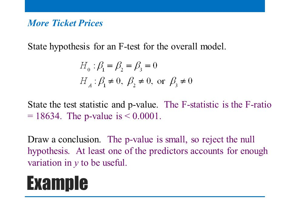 More Ticket Prices State hypothesis for an F-test for the overall model.