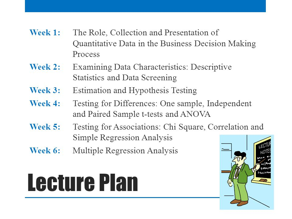 Lecture Plan Week 1: The Role, Collection and Presentation of Quantitative Data in the Business Decision Making Process Week 2: Examining Data Characteristics: Descriptive Statistics and Data Screening Week 3: Estimation and Hypothesis Testing Week 4: Testing for Differences: One sample, Independent and Paired Sample t-tests and ANOVA Week 5: Testing for Associations: Chi Square, Correlation and Simple Regression Analysis Week 6: Multiple Regression Analysis