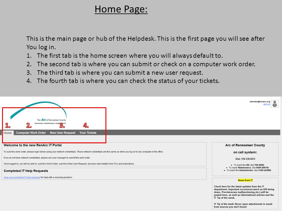 Home Page: This is the main page or hub of the Helpdesk. This is the first page you will see after You log in. 1.The first tab is the home screen wher