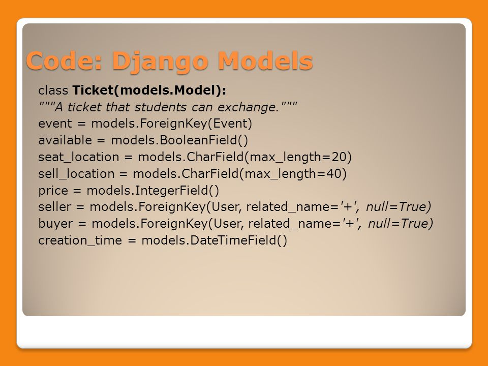 Code: Django Models class Ticket(models.Model): A ticket that students can exchange. event = models.ForeignKey(Event) available = models.BooleanField() seat_location = models.CharField(max_length=20) sell_location = models.CharField(max_length=40) price = models.IntegerField() seller = models.ForeignKey(User, related_name= + , null=True) buyer = models.ForeignKey(User, related_name= + , null=True) creation_time = models.DateTimeField()