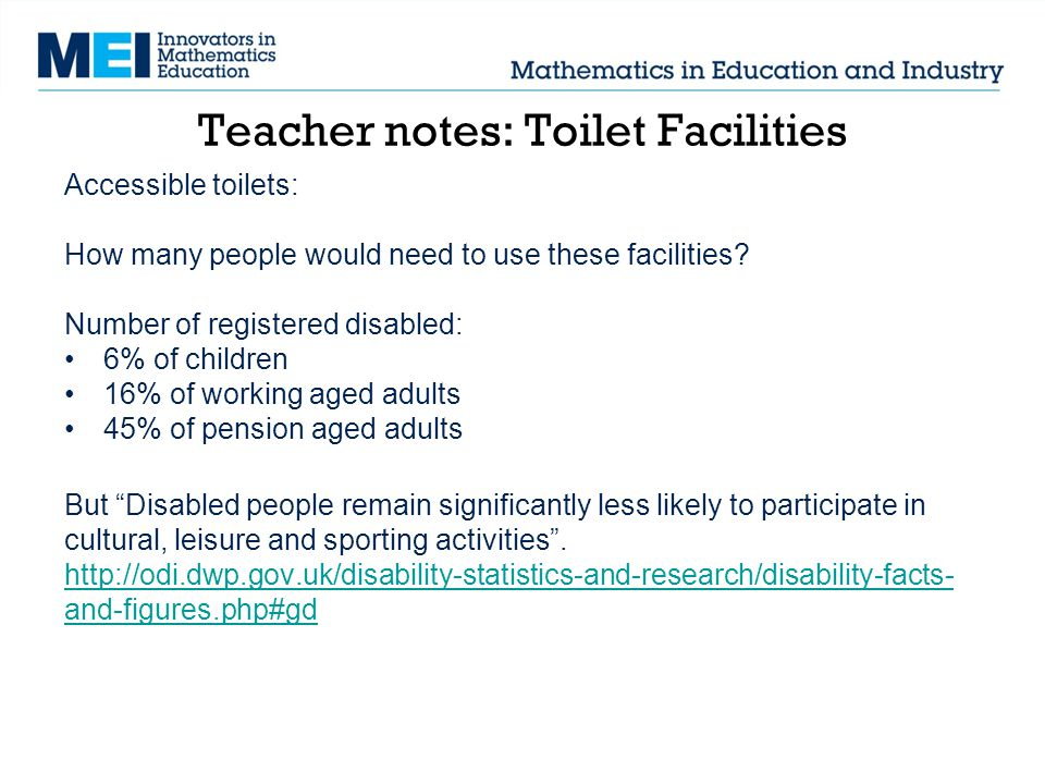 Accessible toilets: How many people would need to use these facilities.