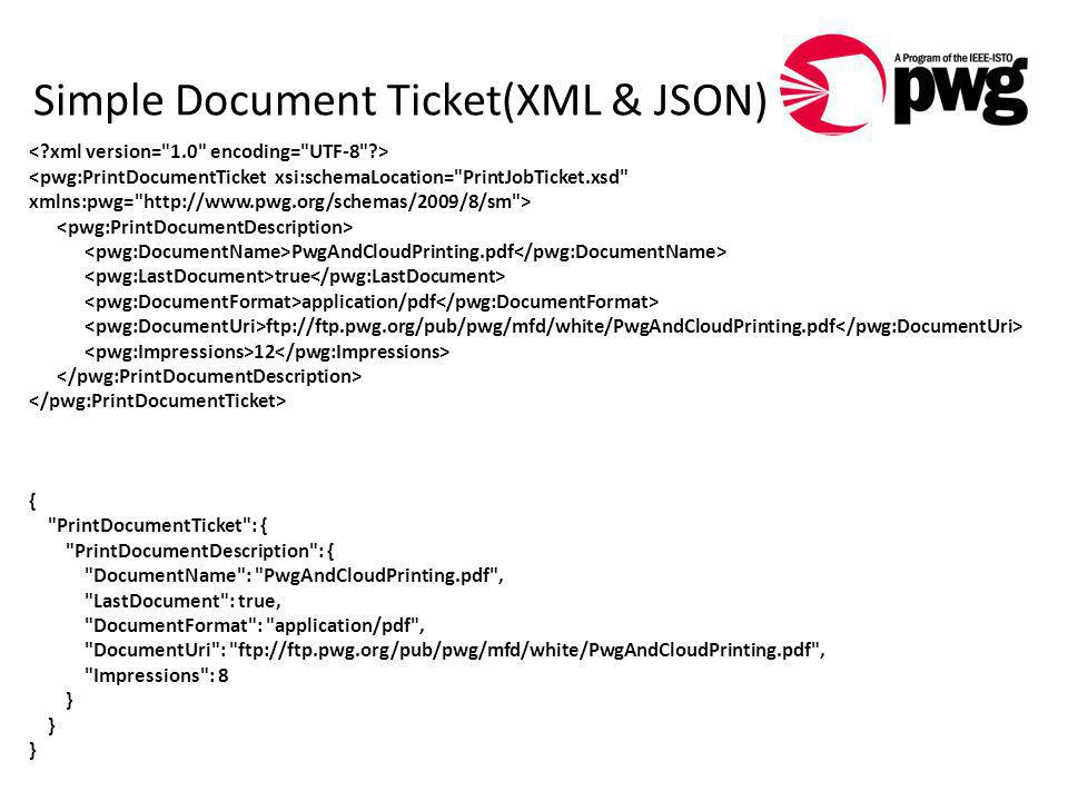 Simple Document Ticket(XML & JSON) PwgAndCloudPrinting.pdf true application/pdf ftp://ftp.pwg.org/pub/pwg/mfd/white/PwgAndCloudPrinting.pdf 12 {