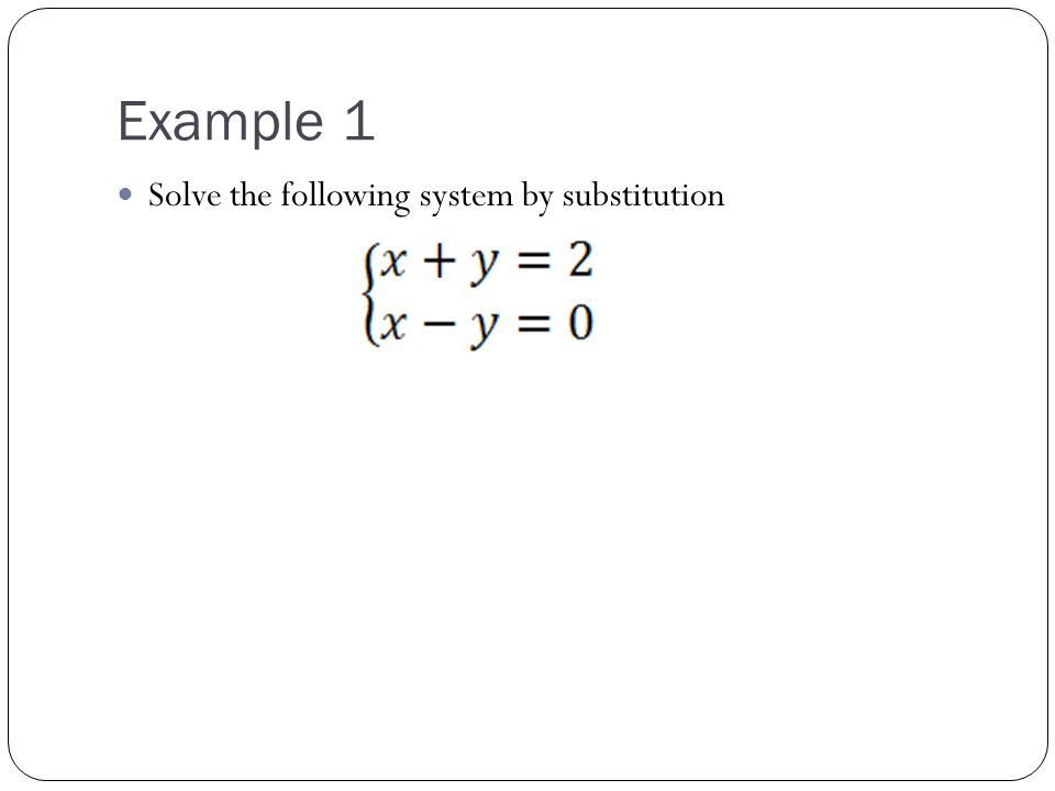 Example 2 Solve the following system using substitution: