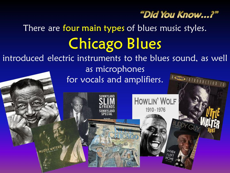 four main types There are four main types of blues music styles. Chicago Blues introduced electric instruments to the blues sound, as well as micropho