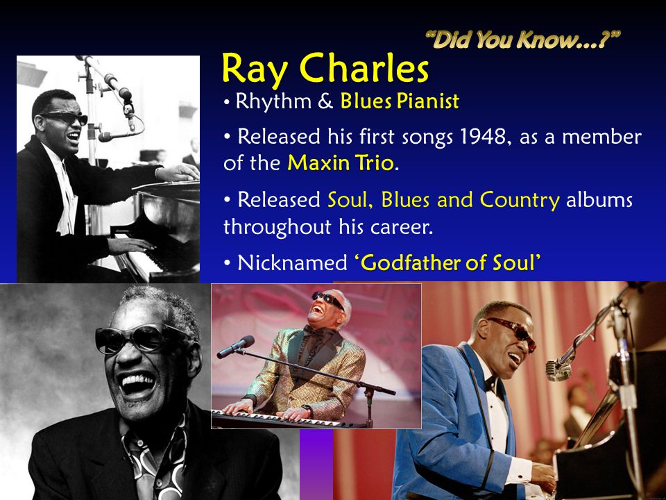 Blues Pianist Rhythm & Blues Pianist Maxin Trio Released his first songs 1948, as a member of the Maxin Trio. Released Soul, Blues and Country albums
