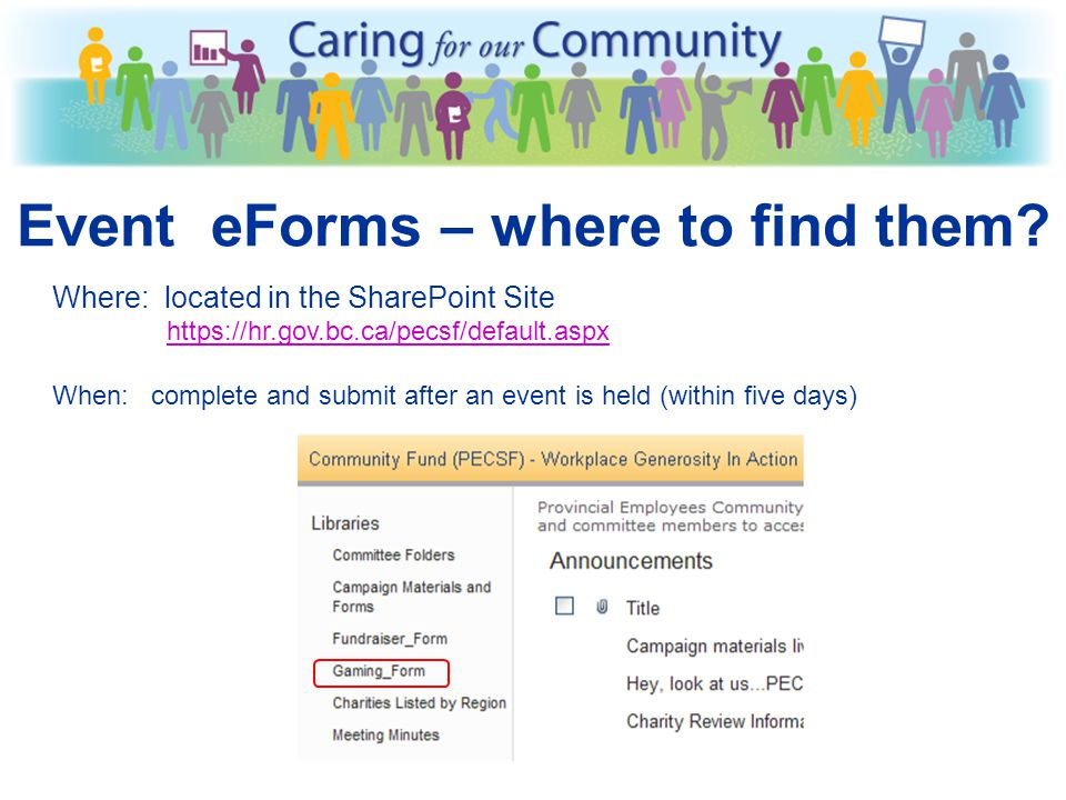 If you have any questions about Event eForms, money, or deposits, contact: PECSF@gov.bc.ca OR PECSF@gov.bc.ca A nne Davis, Financial Officer ph 250 38