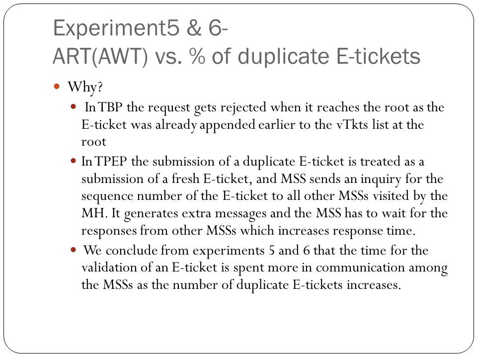 Experiment5 & 6- ART(AWT) vs. % of duplicate E-tickets Why.