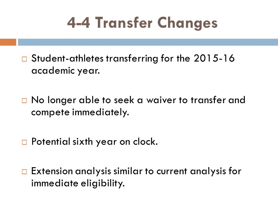 4-4 Transfer Changes Student-athletes transferring for the 2015-16 academic year.