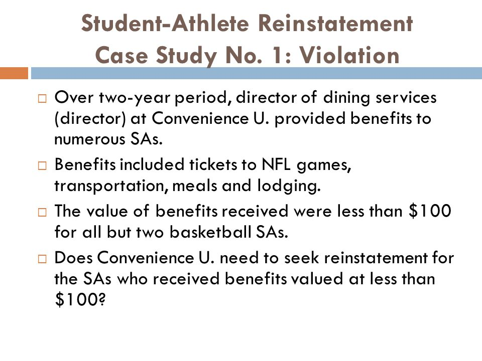 Student-Athlete Reinstatement Case Study No.