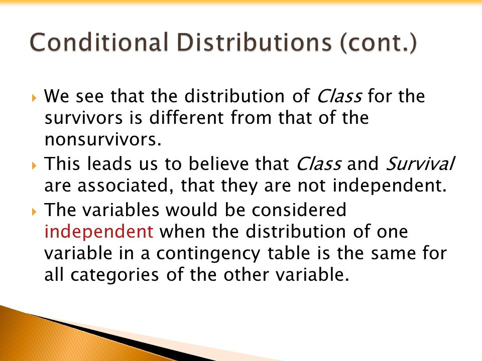 We see that the distribution of Class for the survivors is different from that of the nonsurvivors. This leads us to believe that Class and Survival a