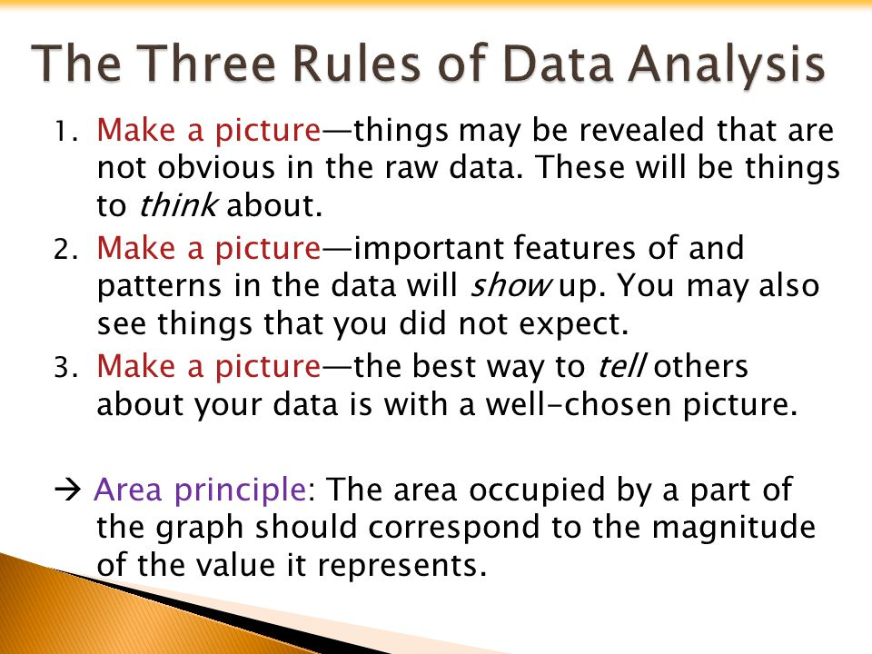 1. Make a picturethings may be revealed that are not obvious in the raw data. These will be things to think about. 2. Make a pictureimportant features