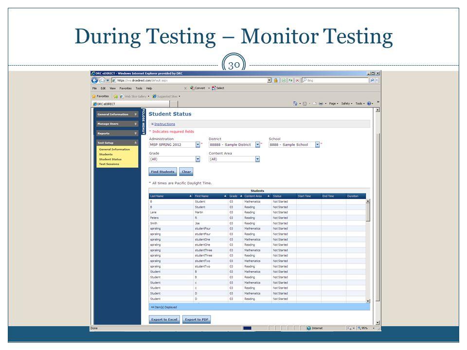 During Testing – Monitor Testing 30