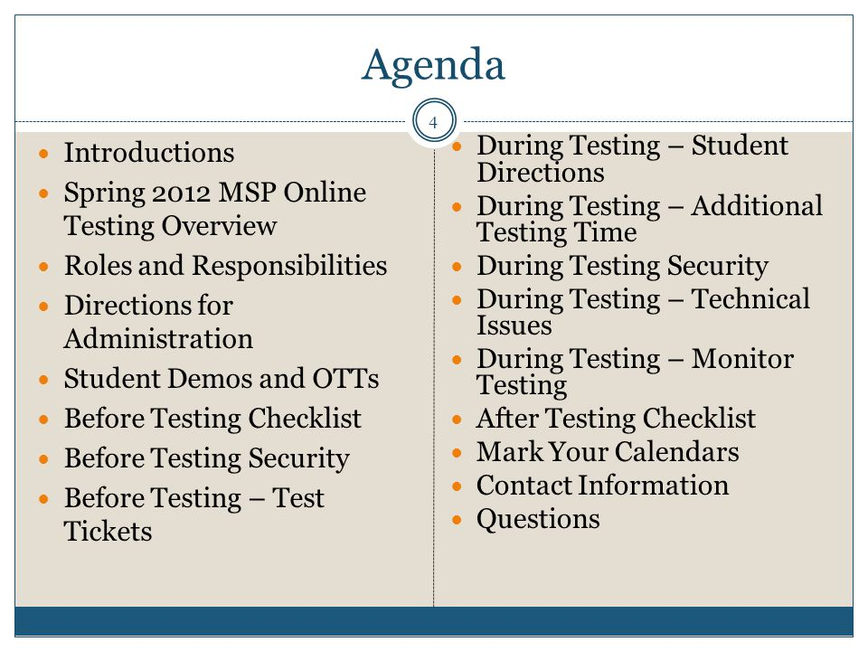 Agenda 4 Introductions Spring 2012 MSP Online Testing Overview Roles and Responsibilities Directions for Administration Student Demos and OTTs Before Testing Checklist Before Testing Security Before Testing – Test Tickets During Testing – Student Directions During Testing – Additional Testing Time During Testing Security During Testing – Technical Issues During Testing – Monitor Testing After Testing Checklist Mark Your Calendars Contact Information Questions