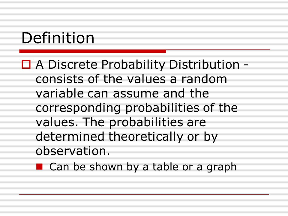 Definition A Discrete Probability Distribution - consists of the values a random variable can assume and the corresponding probabilities of the values